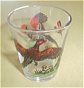 Vintage Hunter Shooting Pheasants Shot Glass