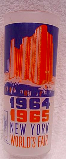 New York World Fair Ice Tea Frosted Glass Tumbler  (Image1)