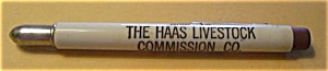 THE HAAS LIVESTOCK COMMISSION CO. VINTAGE BULLET PENCIL (Image1)