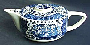 VINTAGE ROYAL (USA) CURRIER & IVES-BLUE TEAPOT WITH LID (Image1)