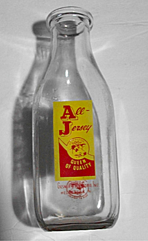 1960`S ALL JERSEY QT MILK BOTTLE HEUVELTON NEW YORK (Image1)