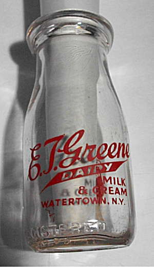 E T Greene Dairy 1 2 Pt Milk Cream Milk Watertown Ny Glass Bottles At Boondockcabin
