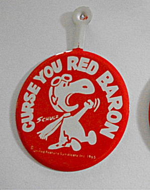 1965 ROUND SNOOPY CURSE YOU RED BARON PINBACK (Image1)