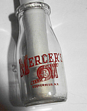 Old 1/2 Pint Mercer`s Jersey Farm Bottle Gouverneur N Y