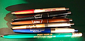5 VINTAGE BOWLING ALLEY PENS & 1 DRIVE IN PEN NICE LOT (Image1)