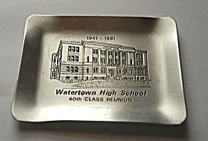WATERTOWN HIGH SCHOOL (TORNDOWN) 1941 - 1981 TIN TRAY (Image1)