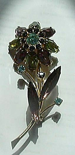 4 COLOR FLORAL BROOCH GREEN/PURPLE/ONYX/AQUAMARINE (Image1)