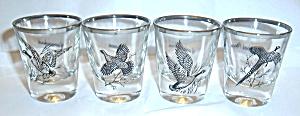 4 VINTAGE BIRD HUNTING SHOT GLASSES CIRCA 60`S (Image1)