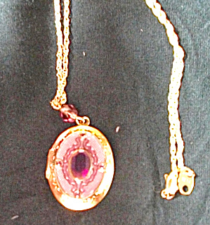 NEW OLD STOCK AVON NECKLACE PURPLE CRYSTAL WITH LOCKET (Image1)