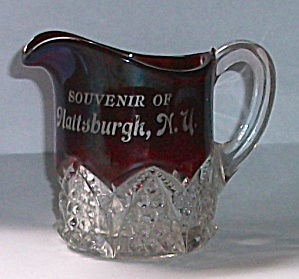 1920`S RUBY GLASS ADVERTISING SOUVENIR OF PLATTSBURG N (Image1)