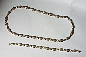 2 PIECE SET .925 STERLING SILVER NECKLACE BRACELET  (Image1)