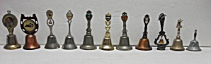 Large Lot Of 11 Vintage Metal Bells All Diff. Cities &
