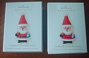 Two 2008 Hallmark COOKIES & COCOA FOR SANTA Ornaments (Image1)