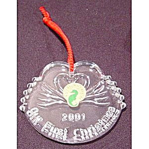 Waterford 2001 Our 1st Christmas Swans Ornament MIB New (Image1)