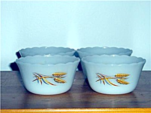 3 Vintage Fire-King WHEAT Pattern Custard Cup Set (Image1)