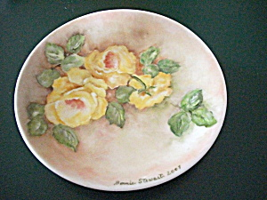 2007 BONNIE STEWART HAND PAINTED GREEN & YELLOW FLORAL (Image1)