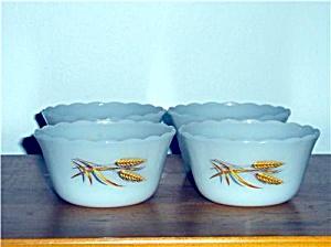 4 Vintage Fire-King WHEAT Pattern Custard Cup Set (Image1)