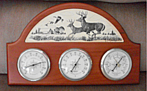 OLD WOODEN THERMOMETER BAROMETER DEER & GEESE (Image1)