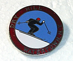 Vintage Dry Hill Ski Resort Watertown New York Pin Back