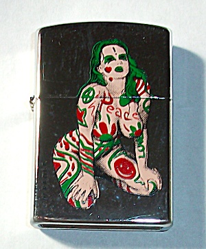 PINUP NUDE WITH TATTOO`S LIGHTER NEW OLD STOCK POCKET L (Image1)