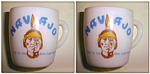 VINTAGE NAVAJO FREIGHT LINES MILK GLASS COFFEE CUP (Image1)