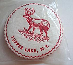 Vintage 1960`s Felt Tupper Lake New York Deer Coasters