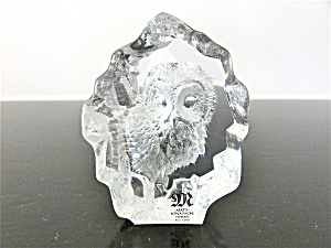 MATS JONASSON  SWEDEN FULL LEAD GLASS OWL (Image1)