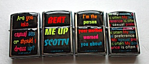 4 DIFFERENT FUNNY SAYSINGS CRYSTAL DOME LIGHTERS NOS (Image1)