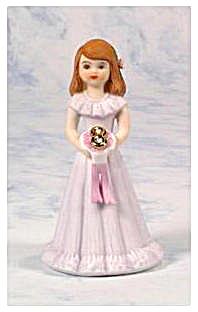 1982 ENESCO GROWING UP GIRL FIGURINE 8 YEARS OLD BRUNET (Image1)
