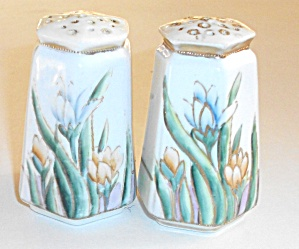 VINTAGE PAIR OF 1940`S CORKED BOTTOM FLORAL SHAKERS (Image1)