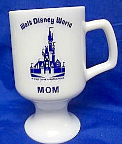 Vintage Walt Disney World Mom Milk Glass Blue Goblet