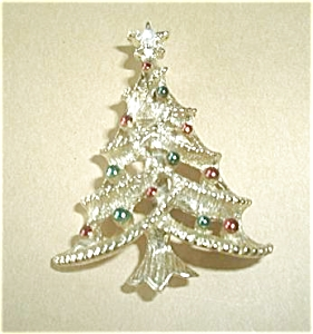 Christmas Tree Brooch Signed Gerrys
