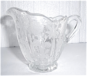Floral Etched Glass Creamer