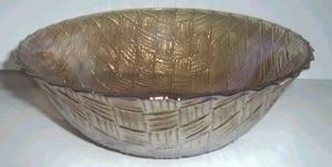 "9"" CARNIVAL GLASS BOWL WEAVED BASKET (Image1)"