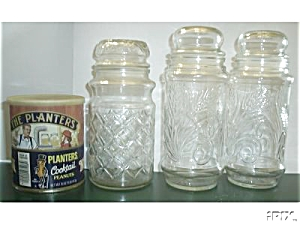 4 OLD PLANTER`S PEANUT 3-JARS 1-TIN (Image1)