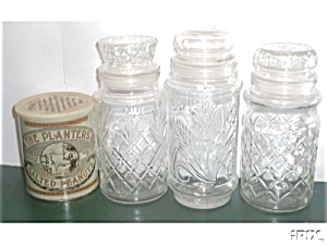 4 OLD PLANTER`S PEANUT 3-JARS 1-TIN #2 (Image1)