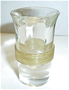 OLD THICK GLASS YELLOW BAND CLEAR SHOT GLASS (Image1)