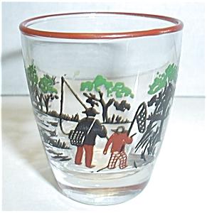 VINTAGE MAN AND BOY FISHING SHOT GLASS (Image1)
