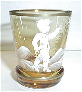 AMBER WHITE GOLD PAINTED BOY SHOT GLASS (Image1)