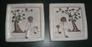 Vintage Chalkware Oriental Boy And Girl