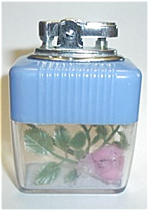 JAPAN VU BLUE/CLEAR ROSE TABLE LIGHTER (Image1)