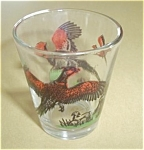 Click here to enlarge image and see more about item 61905-8: VINTAGE HUNTER SHOOTING PHEASANTS SHOT GLASS