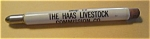 Click here to enlarge image and see more about item 62405-18: THE HAAS LIVESTOCK COMMISSION CO. BULLET PENCIL