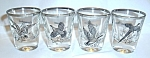 4 VINTAGE BIRD HUNTING SHOT GLASSES CIRCA 60`S