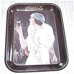 Click here to enlarge image and see more about item 7305-1: COCA COLA BLACK TRAY WOMAN WITH STOLE 1973