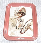 Click here to enlarge image and see more about item 7305: OLD FIFTY`S RED COCA COLA TRAY LADY DRIVER