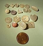Click here to enlarge image and see more about item 826085: 19 VINTAGE MOTHER OF PEARL CARVED TINY DESIGNS
