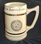 Click to view larger image of OLD ST. LAWRENCE UNIVERSITY BEER STEIN BUNTING POTTERY (Image1)
