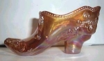 Click here to enlarge image and see more about item A3: MOSSER ORANGE CARNIVAL GLASS SHOE