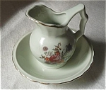 Click here to enlarge image and see more about item JP1: VINTAGE JAPAN MINI FLORAL MINT GREEN PITCHER